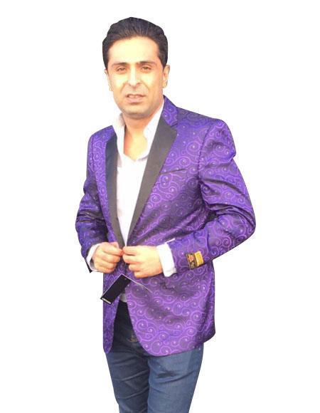 Mens Cheap Fashion big and tall Plus Size Blazer For Guys Purple