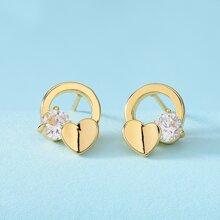 Heart Zircon Stud Earrings