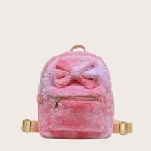 Flaumiger Rucksack mit Schleife Dekor