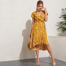 Ruffle Trim Tie Waist Floral Print Dress