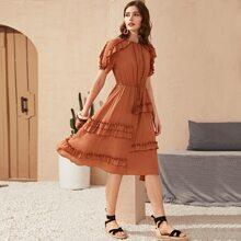 Kleid mit Quasten, Kordelzug um die Taille, Raffung & Pompons Detail