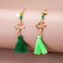 2pcs Tassel Decor Bracelet