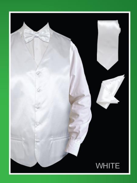 Mens 4 Piece Vest Set  Satin White
