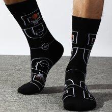 Calcetines de hombres con patron de cancha de baloncesto