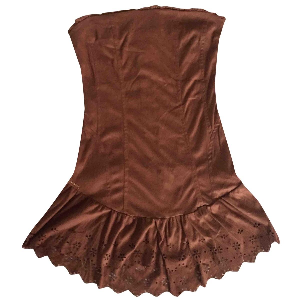 Mary Deep \N Kleid in  Braun Veloursleder
