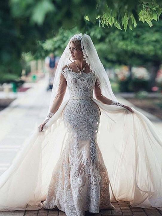 Glamorous Mermaid Long Sleeves Lace Wedding Dresses   Scoop Appliques Detachable Skirt Bridal Gowns