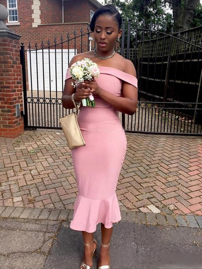 Ericdress Off The Shoulder Mermaid Tea Length Bridesmaid Dress