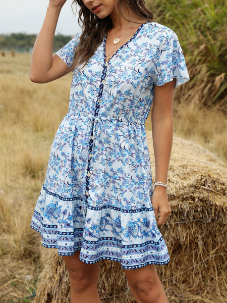 Milanoo Boho Summer Dress V Neck Short Sleeves Drawstring Beach Dress