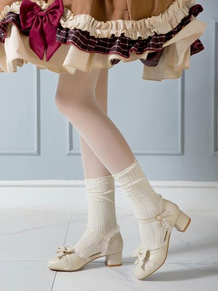 Milanoo Sweet Lolita Footwear Bows PU Leather Chunky Heel Lolita Pumps