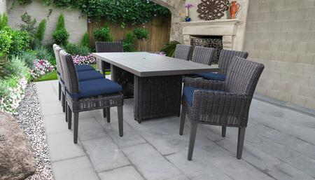 Venice Collection VENICE-DTREC-KIT-6ADC2DCC-NAVY Patio Dining Set With 1 Table  6 Side Chairs  2 Arm Chairs - Wheat and Navy