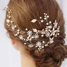 Faux Pearl & Leaf Decor Hair Clip
