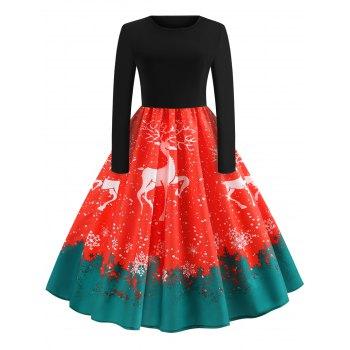 Vintage Elk Printed Christmas Dress