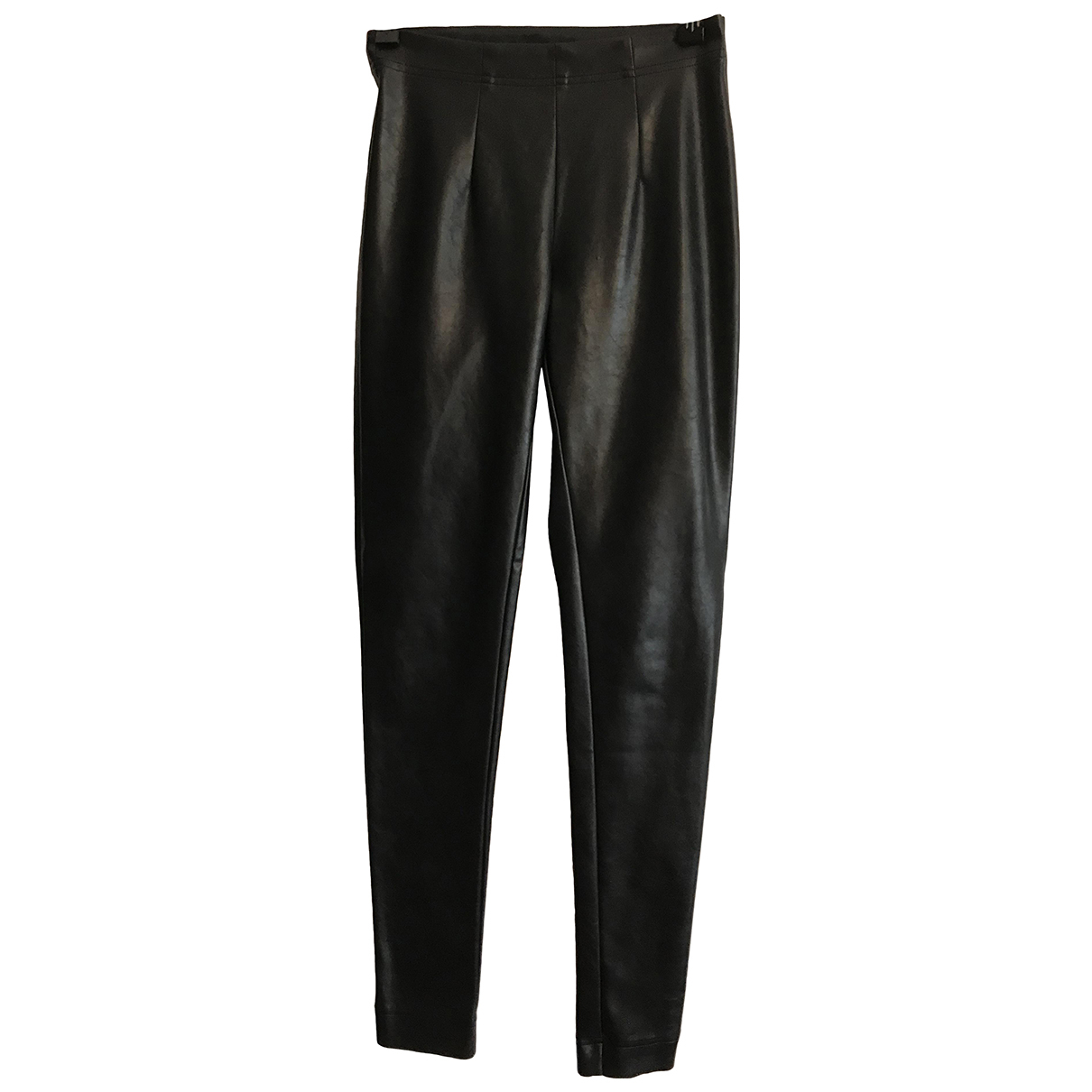 Autre Marque N Black Leather Trousers for Women XS International