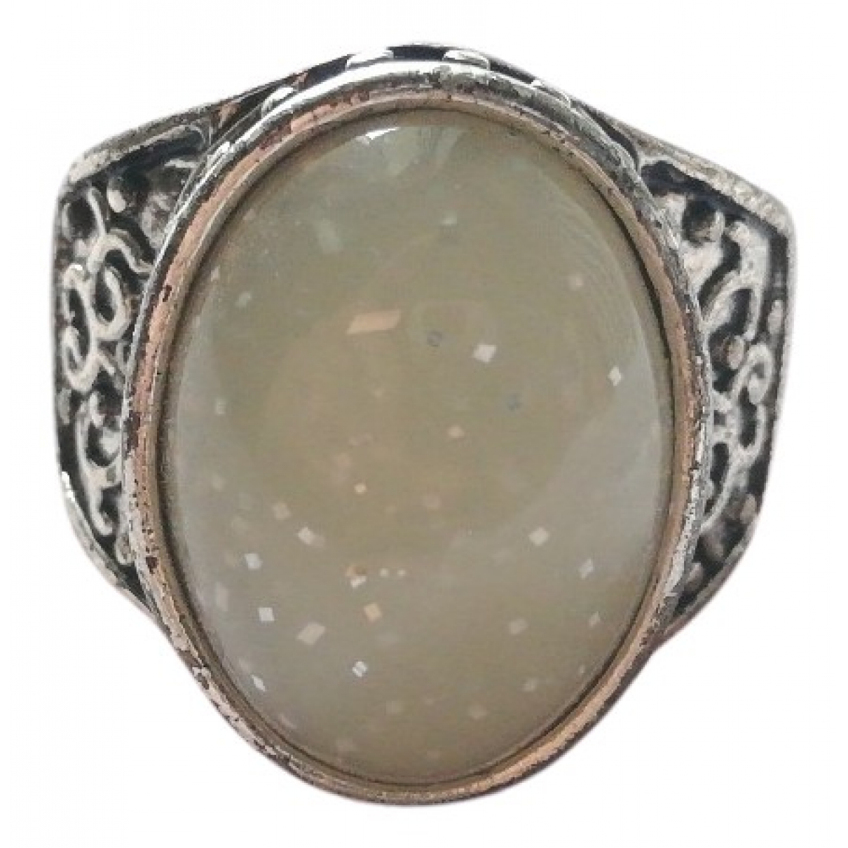 Non Signe / Unsigned Opale Ring in  Silber Stahl