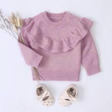 Toddler Girls Ruffle Trim Raglan Sleeve Sweater