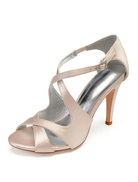 Milanoo Champagne Bridesmaid Shoes Satin Open Toe Criss Cross Wedding Shoes High Heel Bridal Shoes