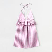 Kleid Streifen Vertikal mit Nackenhalter & Rueschenbesatz