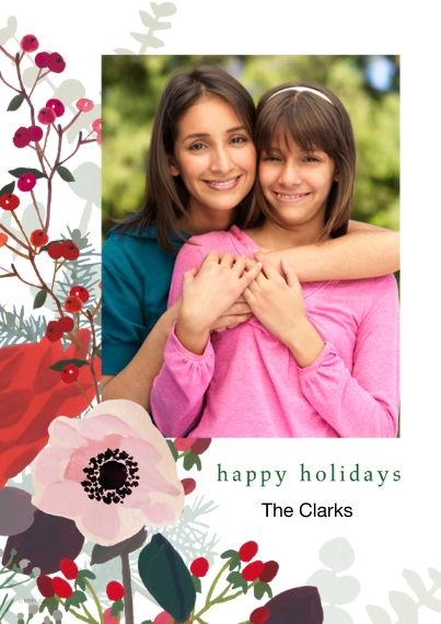 Christmas Photo Cards Flat Matte Photo Paper Cards with Envelopes, 5x7, Card & Stationery -Poinsettia & Holly Happy Holidays Photo Card by Hallmark