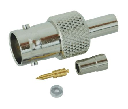 Yuetsu Straight 50Ω Cable Mount BNC Connector, jack, Nickel, Crimp Termination, 1.5D-2V