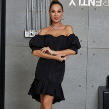 DKRX Kleid mit Puffaermeln, Reissverschluss hinten, Stufensaum und Meerjungfrau Design