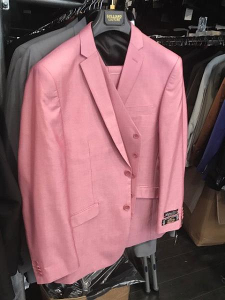 Men's 2 Button Single Breasted Flap Front pockets Vested Pink Suit