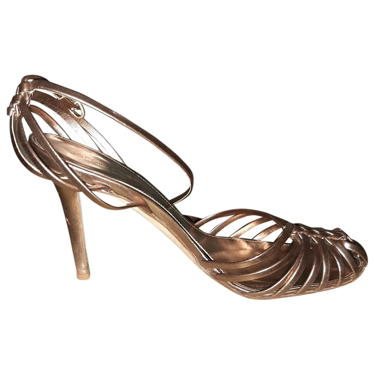 Sergio Rossi \N Gold Leather Sandals for Women 38.5 EU