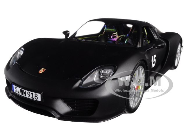 2015 Porsche Spyder 918 15 with Weissach Package Matt Black Limited Edition to 300 pieces Worldwide 1/18 Diecast Model Car by Minichamps