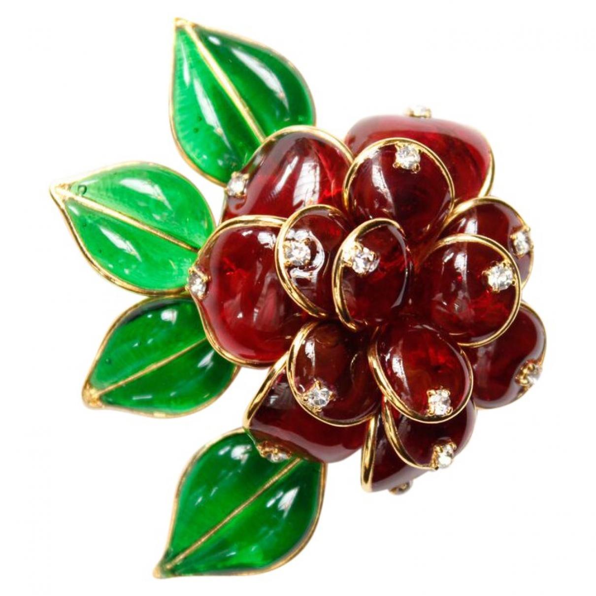 Broche Motifs Floraux en Vidrio Rojo Non Signe / Unsigned