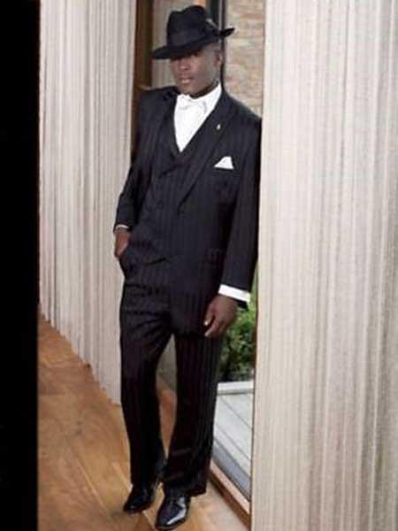 3 Piece Peak Lapel Tonal Stripes Single Breasted Black Vested Suit