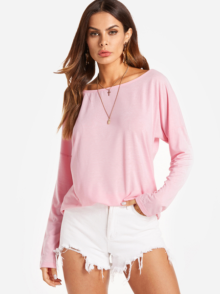 Yoins Cutout Round Neck Backless Hollow Details T-shirts in Pink