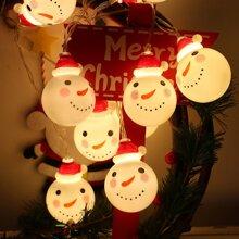 1pc String Light With 10pcs Snowman Shaped Bulb