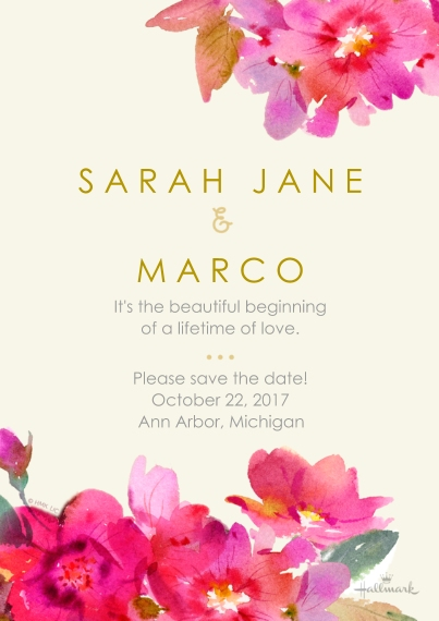 Save the Date 5x7 Cards, Premium Cardstock 120lb, Card & Stationery -Watercolor Floral