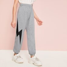 Girls Lightning Print Sweatpants