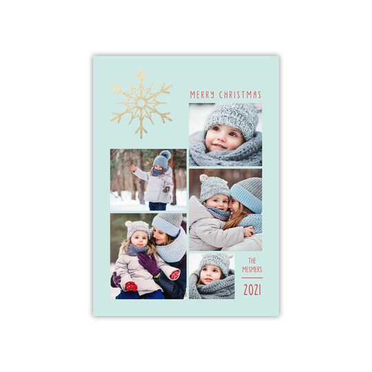 20 Pack of Gartner Studios® Personalized Shimmering Snowflakes Flat Foil Holiday Photo Card in Seafoam | 5