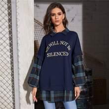 2 In 1 Pullover mit Buchstaben Grafik und Plaid Muster