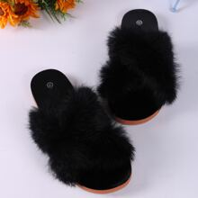 Fluffy Decor Cross Strap Slippers