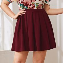 Plus Zip Back Boxy Pleated Skirt