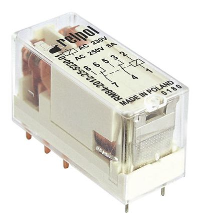 Relpol , 12V ac Coil Non-Latching Relay DPDT, 8A Switching Current PCB Mount, 2 Pole