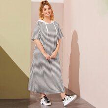 Plus Raglan Sleeve Striped Contrast Hooded Dress