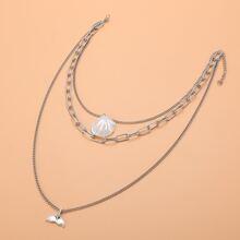 Mehrschichtige Halskette mit Fischschwan Dekor