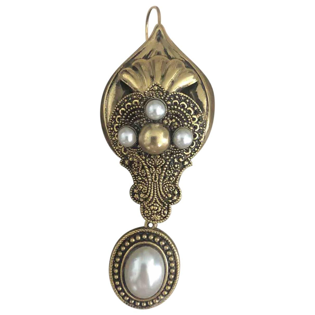 - Broche Art Deco pour femme en metal - blanc