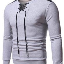 Men Lace Up Front Colorblock Sweatshirt