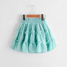 Falda de niñas de lunares a capas de cintura con volante