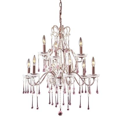4013/6+3RS Opulence 9-Light Chandelier in Rust with Rose