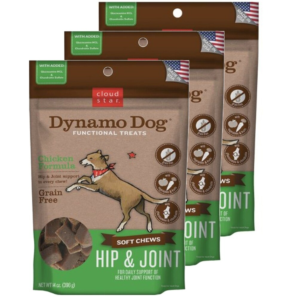 Cloud Star  Dynamo Dog Hip & Joint - Chicken 14 oz Functional Treats 3 Pack