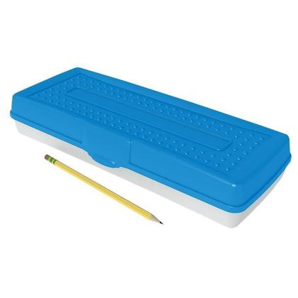 Storex@ Durable Plastic Opaque Lid Pencil Box - Clear Bottom, 13.5 x 5.6 x 2.5