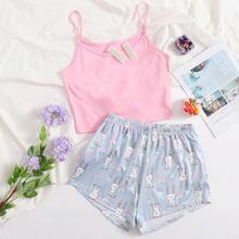 Cami Top With Rabbit Print Shorts Pajama Set