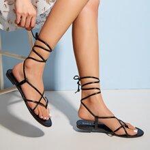 Toe Post Thin Strap Tie Leg Sandals