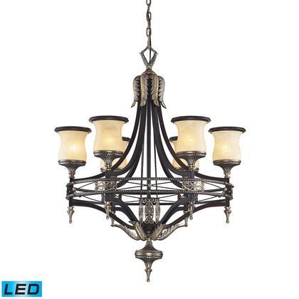 2431/6-LED 6 Light Chandelier in Antique Bronze & Dark Umber and Marblized Amber Glass -