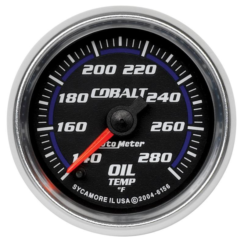AutoMeter GAUGE; OIL TEMP; 2 1/16in.; 140-280deg.F; DIGITAL STEPPER MOTOR; COBALT